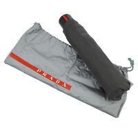 Authentic PRADA Sports Logos Folding Umbrella Black Italy Vintage AK33435