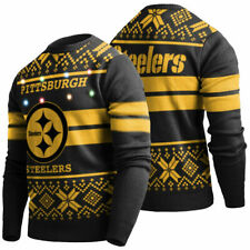 New Pittsburgh Steelers NFL Football Light-Up Ugly Christmas Sweater Men's Large