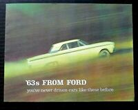 """ORIGINAL 1963 FORD FULL LINE SALES BROCHURE ~16 PAGES~ 8.5"""" X 11"""" ~F16~EXCELLENT"""