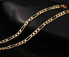 18k bright YELLOW GOLD PLATED FIGARO 3mm WIDE NECKLACE CHAIN - 46CM LONG