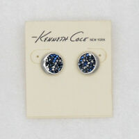kenneth cole signed jewelry silver plated cut crystals stud pierced earring cute