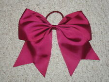 "NEW ""BURGUNDY"" Cheer Bow Pony Tail 3 Inch Ribbon Girls Hair Bows Cheerleading"