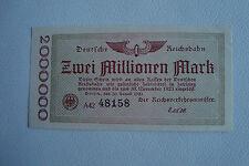 Deutsche Reichsbahn 2 Millionen Mark Berlin 20.8.1923 fast kassenfrisch (2349)