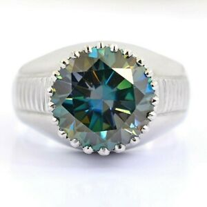 8 Ct Blue Diamond Solitaire Men's Ring In Heavy Setting-Great Shine & Luster !