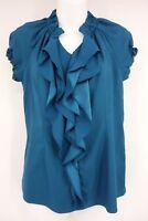 CATO Shirt Women's Small Blue Ruffled Short Sleeve Blouse