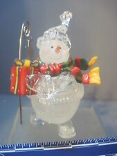 Acylic Plastic Snowman Carrying A Star Staff And Present Figure