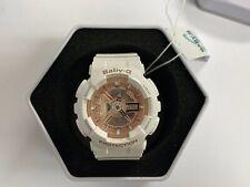 $120 CASIO BABY-G SHOCK 5338 BA-110 WHITE ROSE GOLD Watch *NEW BATTERY*