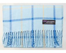 2 PLY New 100% Cashmere Scarf Blue Beige Flannel Plaid Soft Scotland Wool R928