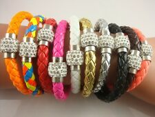 PU Leather Shamballa Magnetic Clasp Crystal Bracelet  SILVER color Sparkly  Cuff