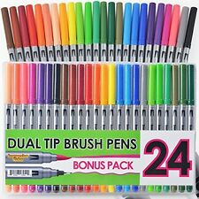Dual Tip Brush Pens With Fineliner Tip (24 PACK, No Duplicates!) Paint Brush On