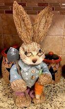 """Easter Bunny Boy Garden Rabbit Basket Egg Decor 13"""" Spring Wreath Pick Chocolate"""