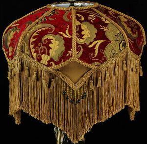 VINTAGE VICTORIAN LAMP SHADE RED GOLD CHENILLE FABRIC W/ SILK STUNNING SHADE