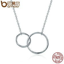 Bamoer Simple S925 Sterling silver Necklace Double Circle Pendant Women Jewelry