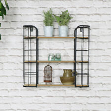 Industrial Rustic Wall Mounted Shelving Unit Black Metal Wooden Bathroom Kitchen