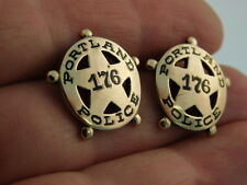 14K GOLD ANTIQUE PORTLAND POLICE STAR BADGE BILLY CLUB CUFF LINK #176 CIRCA 1910