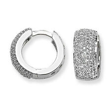 Diamond Hoop Huggie Earrings White Gold 15mm Appraisal Certificate  0.75ctw