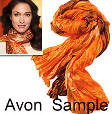 Avon Orange & Brown Crinkle Scarf Lightweight Accent Wrap Nylon Fall colors NEW