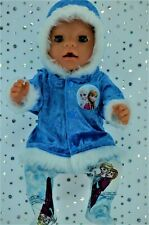 """Play n Wear Dolls Clothes To Fit 17"""" Baby Born  ROYAL BLUE VELVET JACKET~TIGHTS"""
