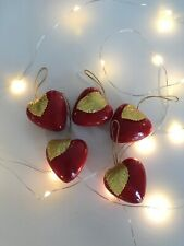 Vintage Apple Heart Baubles Christmas Decorations Ornaments Kitsch Retro Holiday