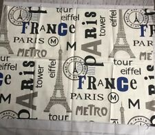 Tessuto a tema Parigi Francia 87 x 64 CM TORRE EIFFEL Metro timbro Francais Francia