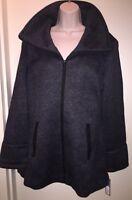 """APT.9 Women's Hooded Fleece Coat """"BLACK GRAY HERRINGBONE"""" Size L Jacket NEW Tags"""