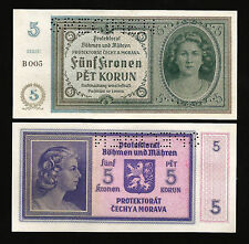 Bohemia & Moravia 5 Korun 1940 UNC P-4s Specimen