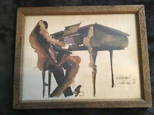 LEO MEIERSDORFF JAZZ PIANIST WATERCOLOR, SIGNED 1976, FRAMED, NEW ORLEANS