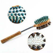 Double Sided Wooden Body Massage Hammer Telescopic Head Neck Scratcher LJ