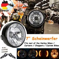7'' Zoll Motorrad H4 35W Scheinwerfer LED Blinker+ Lampenhalter für Harley Honda