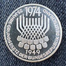 GERMANY 1974F 5 Mark Constitutional Law Silver Proof Very Nice Condition L6