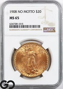 1908 MS65 Double Eagle, $20 Gold St Gaudens NGC Mint State 65 ** No Motto, Nice!