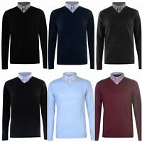 PIERRE CARDIN MEN`S NEW V-NECK KNIT JUMPER WITH MOCK SHIRT COLLAR SIZES S TO 4XL