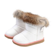 New Kids Babys Girls Faux Fur Winter Warm Bootie Snow Lace-up Ankle Shoes Boots