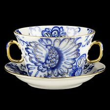 RUSSIAN Imperial Lomonosov Porcelain Broth Soup Cup & Saucer Singing Garden 22k