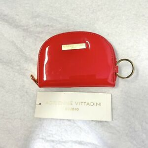New Adrienne Vittadini Studio Wallet Red Patent Leather Zip Coin Purse Key Chain
