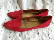 NINE WEST Sossi Red Suede Leather Flats Shoes WOMENS SZ 7.5 Pointed Toe