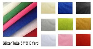 """Glitter Tulle Fabric bolt for wedding and decoration 54"""" by 10 yards (30 ft)"""