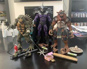NECA  Tokka, Rahzar and Super Shredder TMNT 2 Secret of the Ooze action figures.