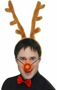 Adult Holiday Christmas Reindeer Brown Antlers Nose Bowtie Costume Accessory Set