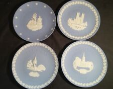 Set of 4 Jasper Wedgwood Plates ~ 1976 American Independence + Christmas 1977-86