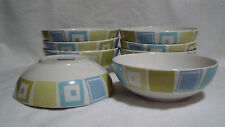 LOT of 8! Target Home White with Blue and Green Square Pattern Soup Cereal Bowls