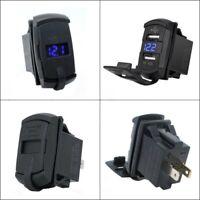 Dual USB Car Boat Socket Rocker Switch Panel 12 Voltage Voltmeter Blue Universal