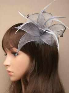 Silver Grey Beak Clip Feather Fascinator Ladies Day Royal Ascot Weddings 9