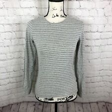 Escada Sport Striped Long Sleeve tee top Gray Shimmering Size Small Designer