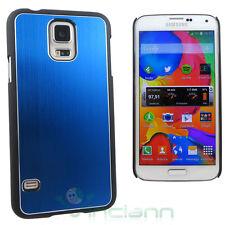Custodia cover rigida effetto METALLO BRUSHED per Samsung Galaxy S5 G900F blu NE