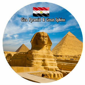 GIZA PYRAMID & GT SPHINX - LARGE SOUVENIR NOVELTY FRIDGE MAGNET - SIGHTS / GIFTS