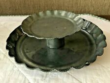 "TWO TIER TIN WORK CANDLE HOLDER ALSO GREAT FOOD SERVER FOR A BUFFET 10"" & 6"""