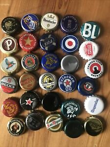 30 BEER BOTTLE CAPS TOPS - ARTS & CRAFTS - USED ALL DIFFERENT SOME RETRO CRAFT