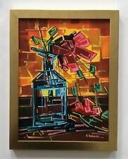 Cubist acrylic painting , Still life, Container with flower, Enrique Zaldivar