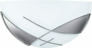 EGLO 89759 Raya Wall Light 1 Light in White Steel and Satin Glass